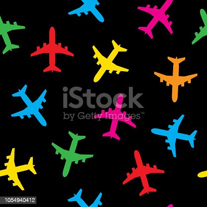 Vector illustration of colorful airplane icons against a black background in a repeating pattern.