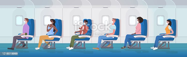 airplane pessengers wearing medical face masks to prevent coronavirus covid-19 pandemic prevention