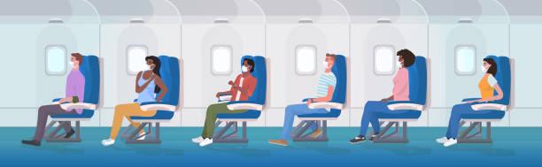 ilustrações de stock, clip art, desenhos animados e ícones de airplane pessengers wearing medical face masks to prevent coronavirus covid-19 pandemic prevention - covid flight