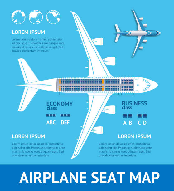 airplane plan seat map card. vector - airplane seat stock illustrations