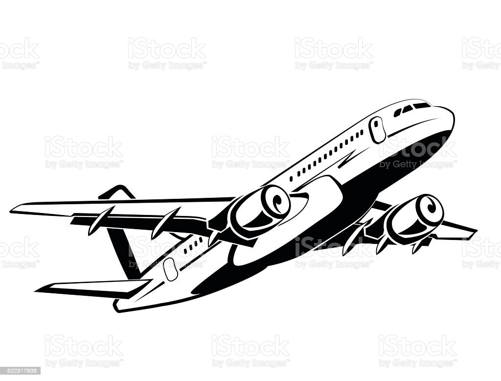 Airplane, plane on takeoff, passenger plane in monochrome style, airlines. vector art illustration