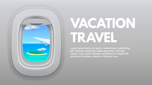 Airplane porthole view. Travel aircraft wing in window, traveler air plane and vacation traveling concept vector illustration Airplane porthole view. Travel aircraft wing in window, traveler air plane and vacation traveling. Jet sky side, airplane journey or aircraft cabin view booklet concept vector illustration airport borders stock illustrations