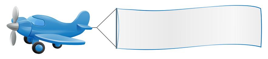 Avión Tirando Banner Dibujos Animados
