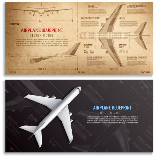 airplane realistic banners Airplane blueprint two horizontal banners with dimensioned drawing of passenger aircraft realistic vector illustration airport drawings stock illustrations