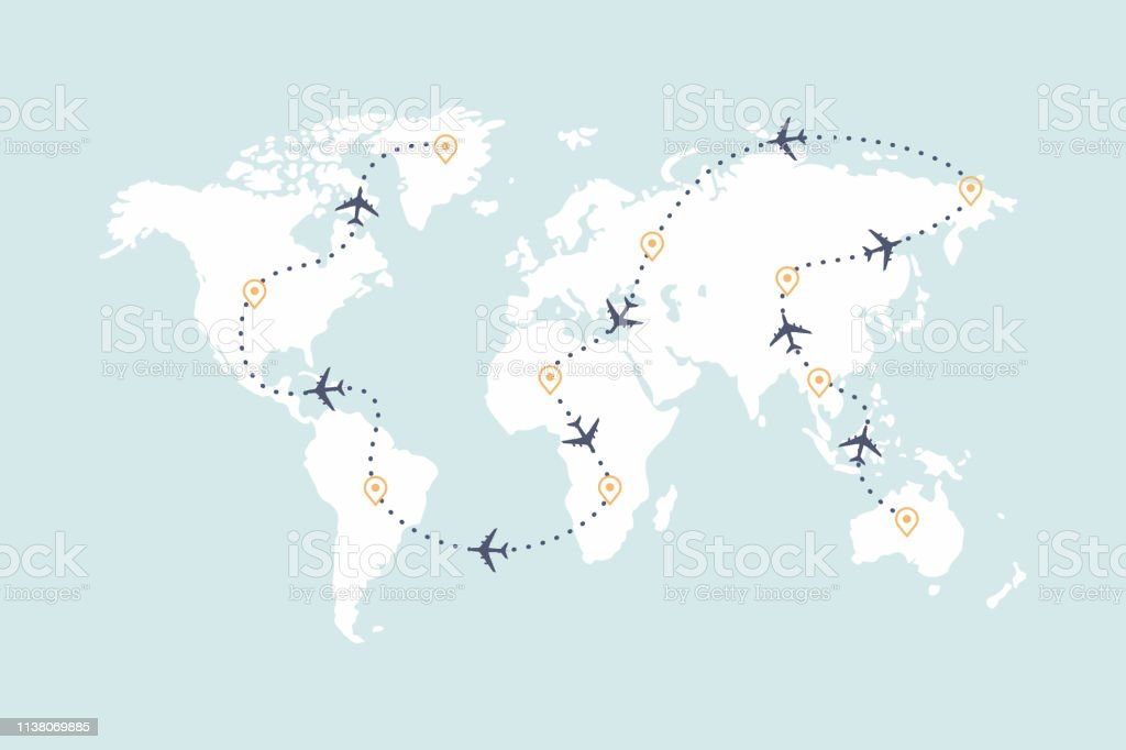 Airplane Route Line And Travel Routes Aviation Track Path On ... on travel line map, travel area map, travel time map, travel blog map,