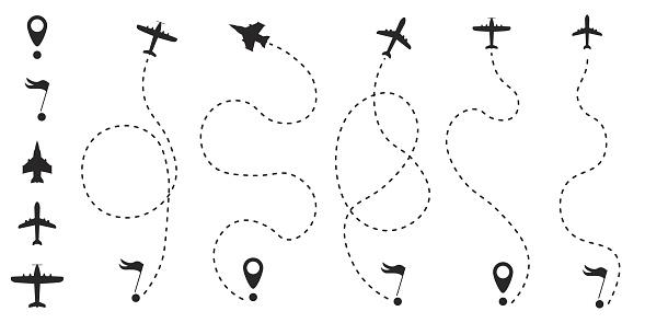 Flugzeugroute Linie Stock Vektor Art und mehr Bilder von Abstrakt
