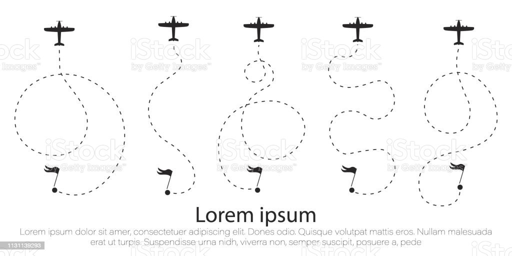 Airplane route in dotted line shape. A route from a line in the form...