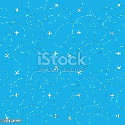 Airplane route seamless pattern. Plane flight line path travel destination aircraft map. Tourism and business trip vector concept