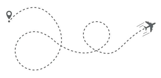 flugzeug-route-track-vektor-illustration - kasachstan stock-grafiken, -clipart, -cartoons und -symbole