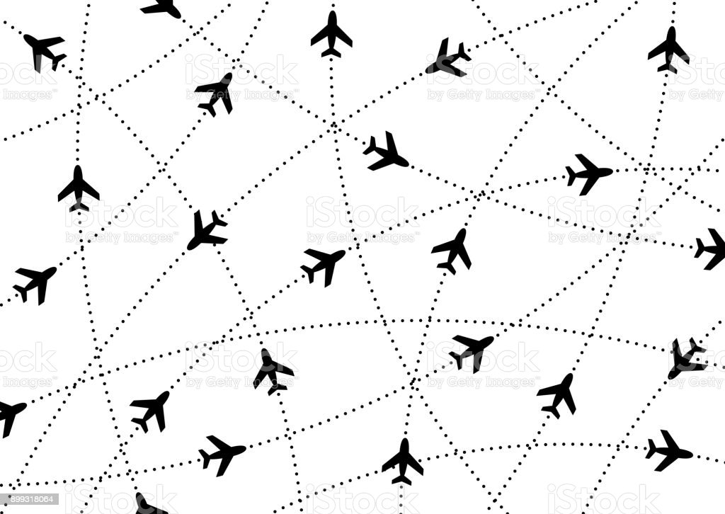 Airplane routes. Air travel. Air traffic silhouette. Black airplanes isolated on white background. vector art illustration