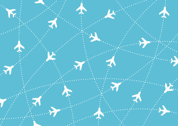 Airplane routes. Air travel. Air traffic silhouette. White airplanes isolated on blue background. Airplane routes. Air travel. Air traffic silhouette. White airplanes isolated on blue background. Web site page and mobile app design element. aviation and environment summit stock illustrations