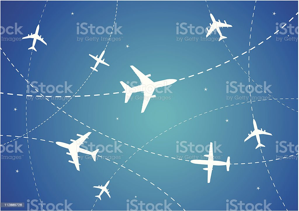 Airplane Routes vector art illustration
