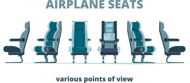 airplane seat. aircraft interior armchairs in different side view vector flat pictures - airplane seat stock illustrations