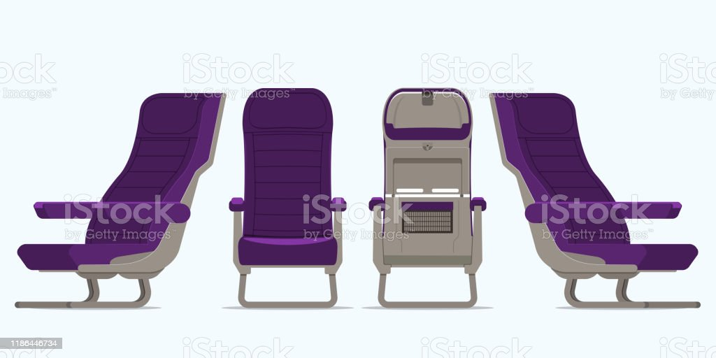 Airplane seat in various points of view. Armchair or stool in front view, rear view, side view. Furniture icon for Plane transport interior design  in flat style. Vector. - Векторная графика Авиабилет роялти-фри