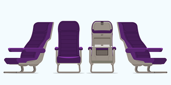 Airplane Seat In Various Points Of View Armchair Or Stool In Front View Rear View Side View Furniture Icon For Plane Transport Interior Design In Flat Style Vector — стоковая векторная графика и другие изображения на тему Авиабилет