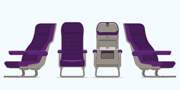 airplane seat in various points of view. armchair or stool in front view, rear view, side view. furniture icon for plane transport interior design  in flat style. vector. - airplane seat stock illustrations