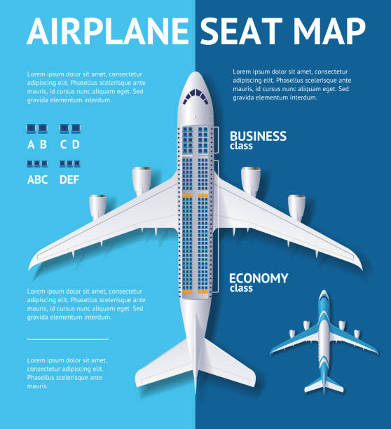 airplane seat map class card. vector - airplane seat stock illustrations