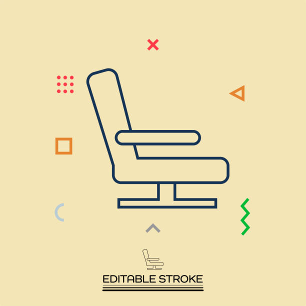 airplane seat vector icon. editable stroke - airplane seat stock illustrations