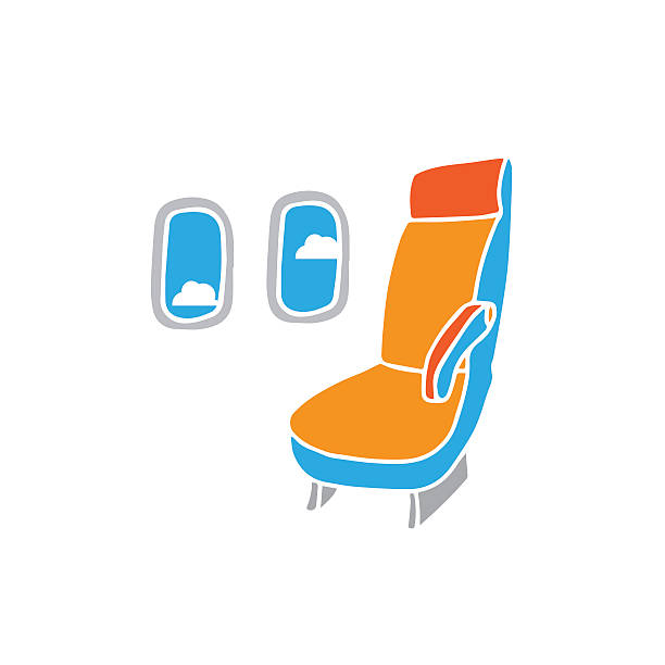 fotel samolotowy - airplane seat stock illustrations