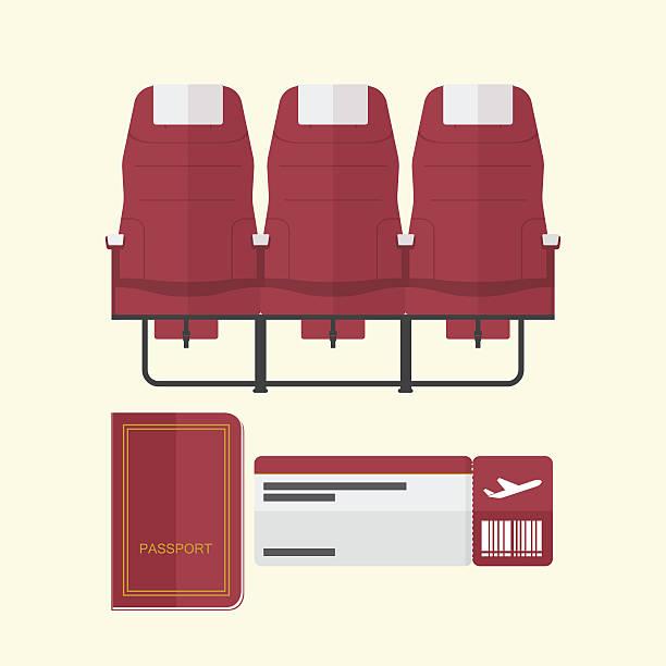 flugzeug platz mit pass und boarding-pass in flat-design - fahrzeugsitz stock-grafiken, -clipart, -cartoons und -symbole