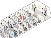 """Cutaway illustration of an airplane fuselage, with pilot, flight attendant, and 12 passengers in isometric view."""