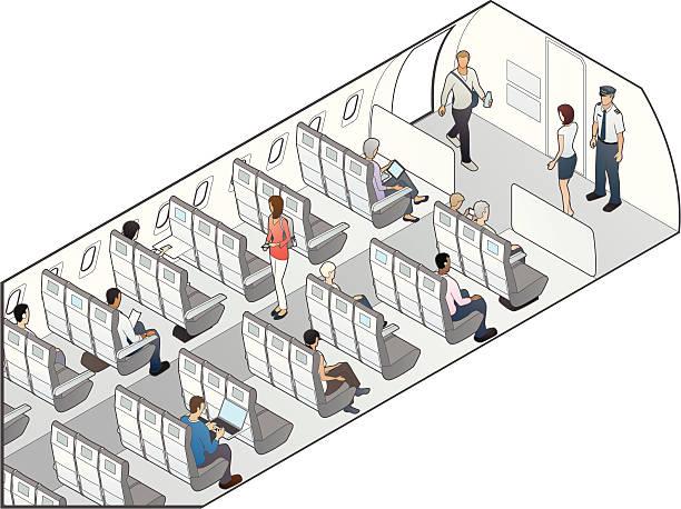 flugzeug sitzgelegenheiten illustrationen - fahrzeugsitz stock-grafiken, -clipart, -cartoons und -symbole