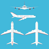 Airplane set in the sky. Commercial airplane in side, top, front and bottom view