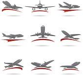 Airplane set. Vector