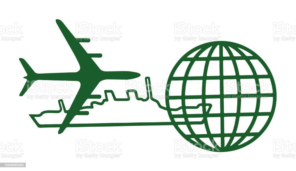 Airplane, Ship and Globe vector art illustration