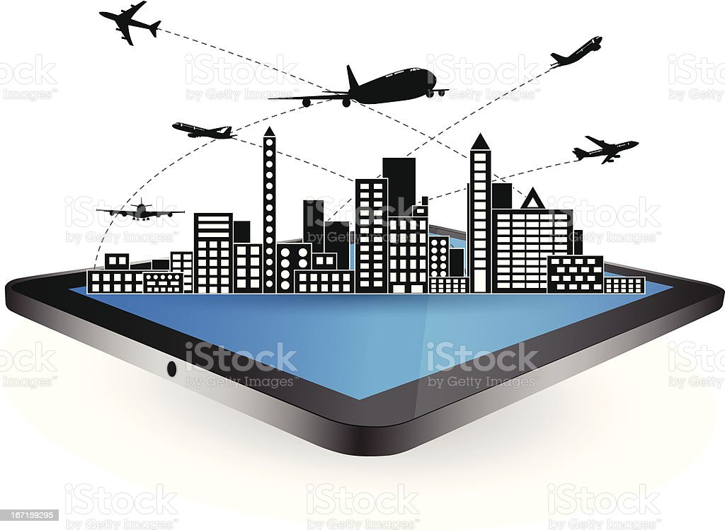 Airplane shipping on tablet screen for transportation concept, Vector. royalty-free stock vector art