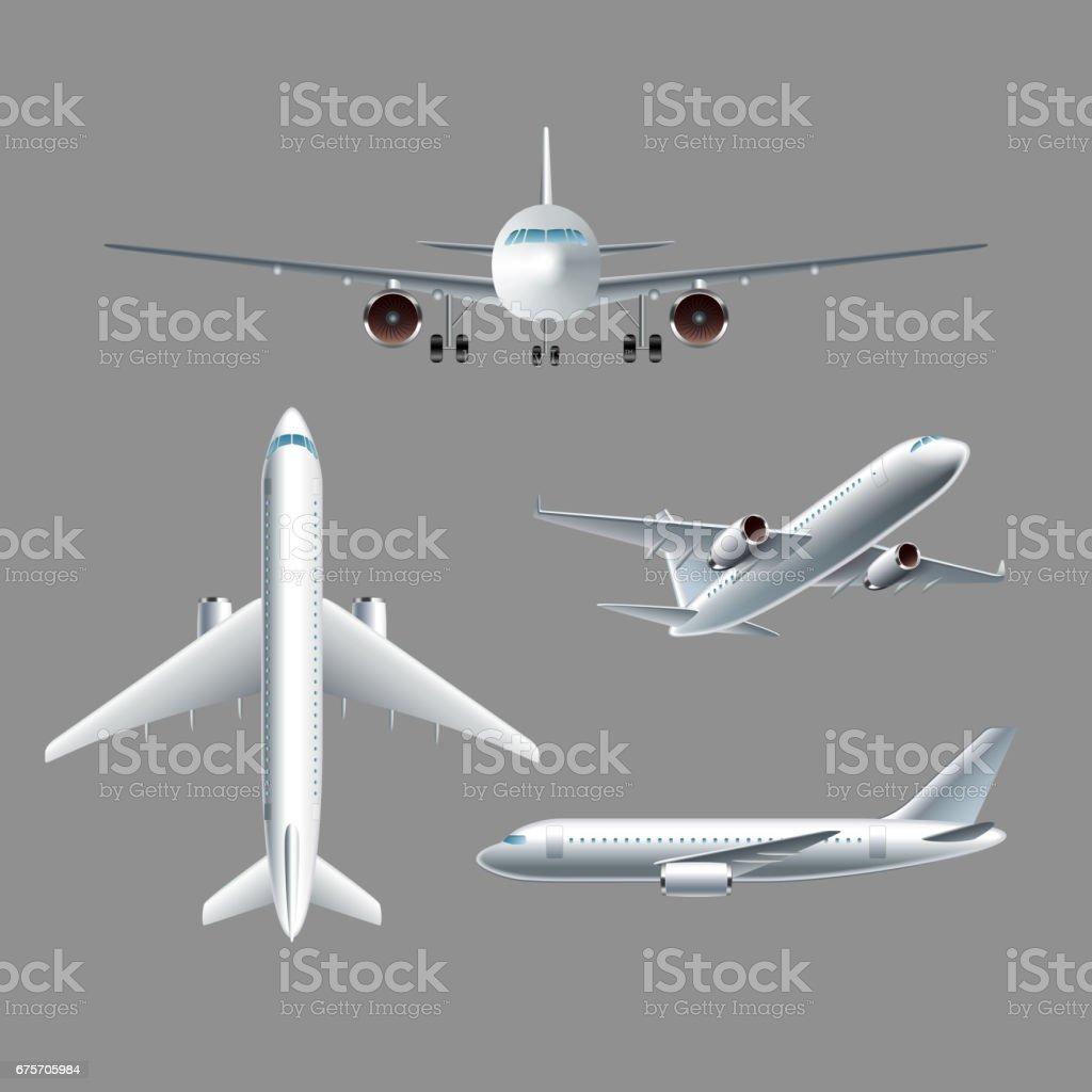 飛機側前後頂視圖分離的向量 免版稅 飛機側前後頂視圖分離的向量 向量插圖及更多 乘客 圖片