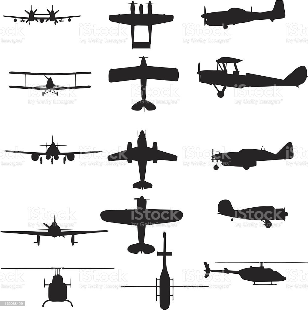 Airplane silhouette collection (vector+jpg) vector art illustration