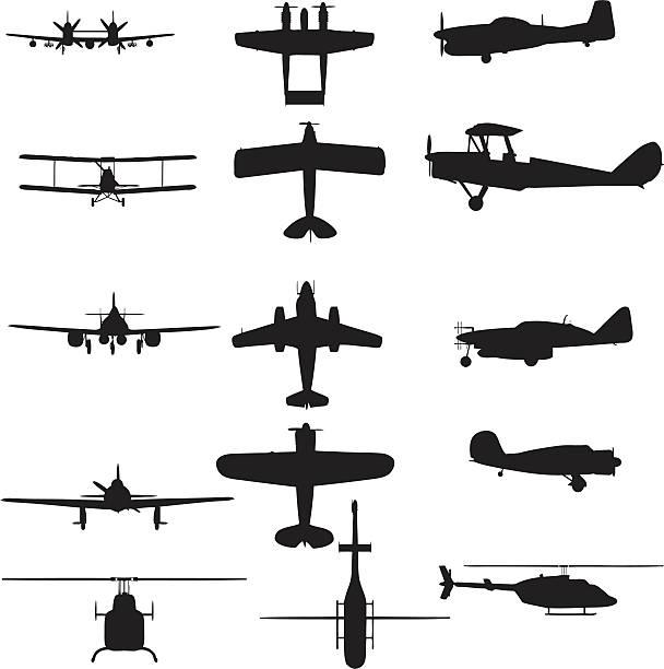 비행기 실루엣 컬레션 (벡터 jpg - 복엽기 stock illustrations