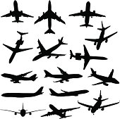 A collection of fifteen plane silhouettes from different angles.
