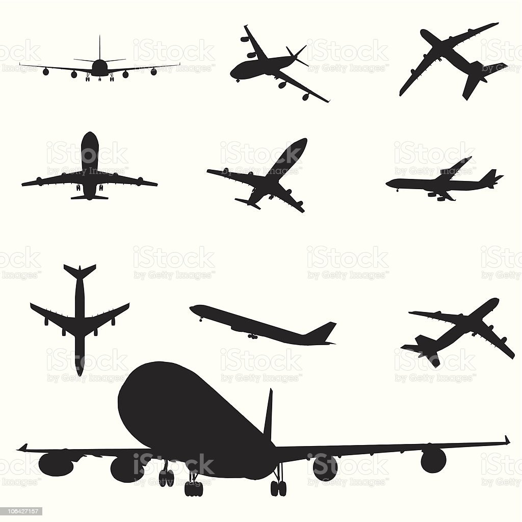 Airplane silhouette set vector art illustration