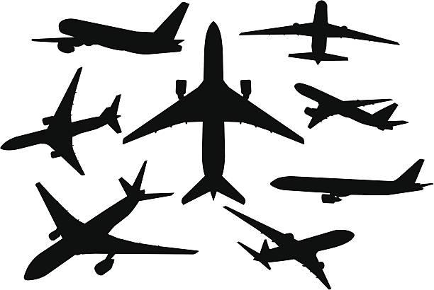 飛行機のシルエットセット ベクターアートイラスト