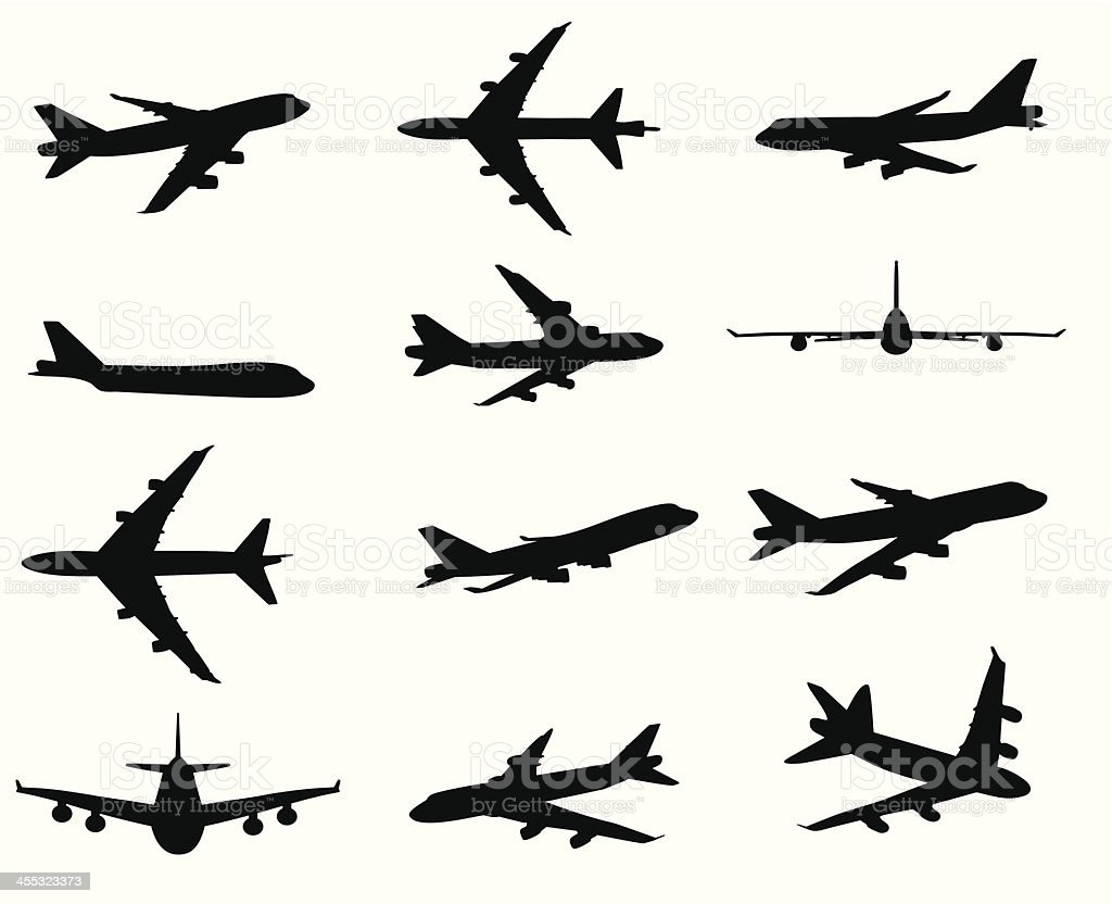 airplane silhouette stock vector art  u0026 more images of