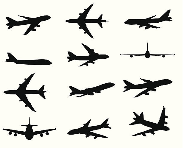 illustrations, cliparts, dessins animés et icônes de silhouette avion - avion