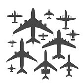 Airplane silhouette vector illustration top view plane and aircraft transportation travel way design journey object