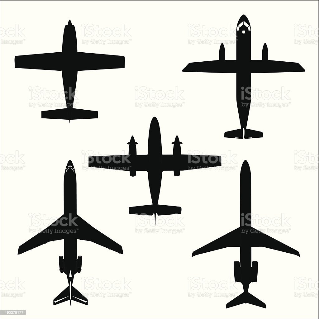 Airplane silhouette- Vector vector art illustration