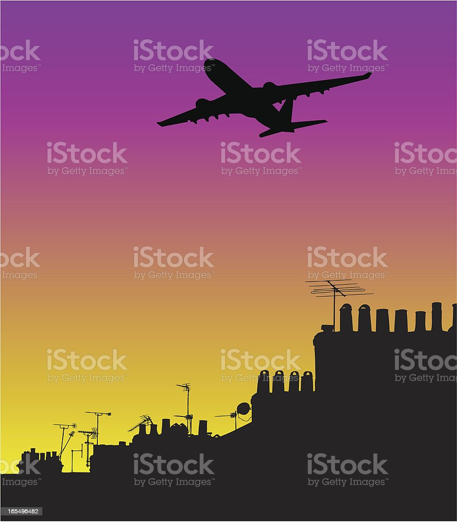 Airplane silhouetted above houses on a hot afternoon royalty-free airplane silhouetted above houses on a hot afternoon stock vector art & more images of above