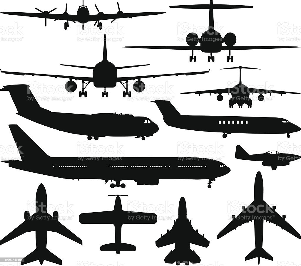 Airplane Silhouettes royalty-free airplane silhouettes stock vector art & more images of above