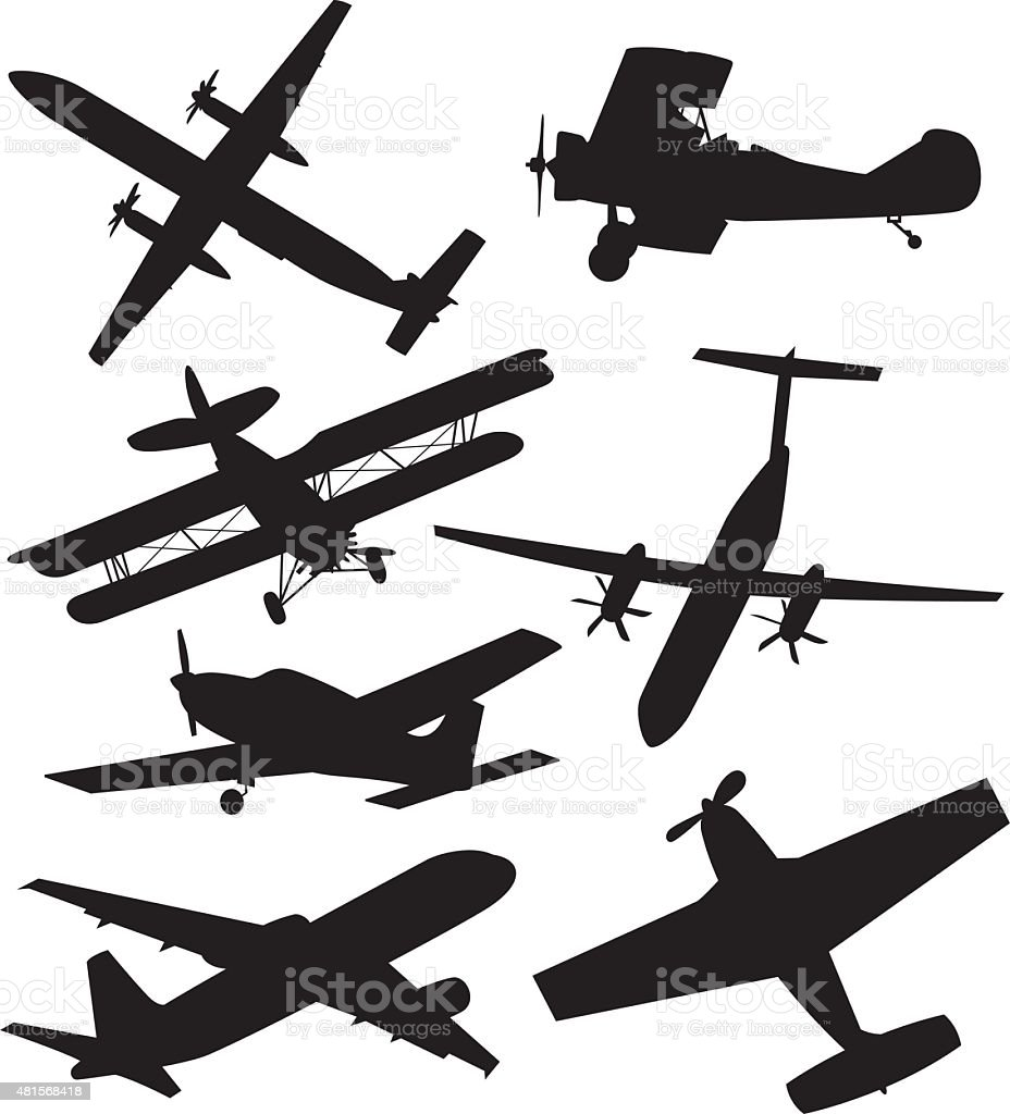 Airplane Silhouettes vector art illustration