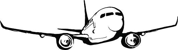 airplane sketch vector art illustration