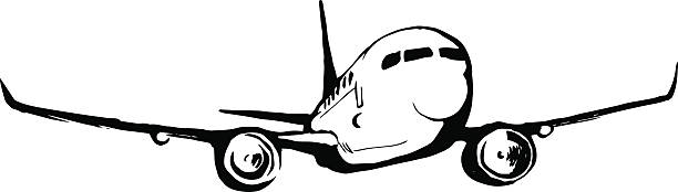 airplane sketch vector art illustration