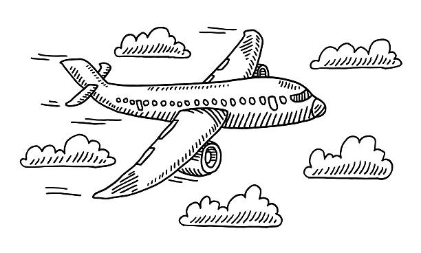 Airplane Sky Clouds Drawing Hand-drawn vector drawing of an Airplane in the Sky and Clouds. Black-and-White sketch on a transparent background (.eps-file). Included files are EPS (v10) and Hi-Res JPG. airport drawings stock illustrations