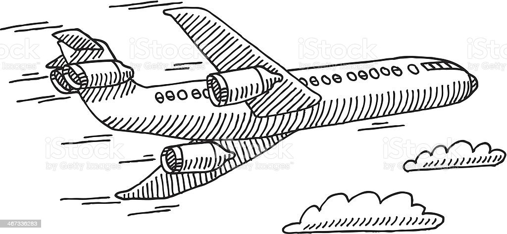 Dibujo Para Colorear Viajar: Airplane Sky Travel Drawing Stock Vector Art & More Images