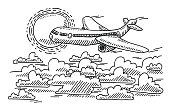 Airplane Sunshine Over The Clouds Drawing