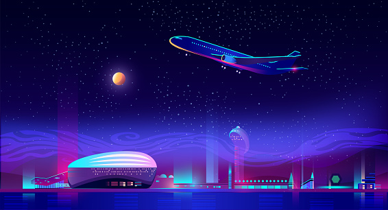 Airplane take off from airport runway at neon night city view background with glowing illumination, skyscrapers. Metropolis transport hub with terminal and control tower. Cartoon vector illustration