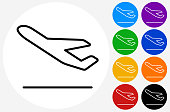Airplane Taking Off Icon. This 100% royalty free vector illustration is featuring a white round button with a black icon. There are 5 additional alternative variations in different colors on the right.
